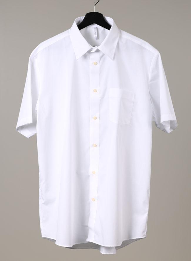 シンプル半袖ブロードシャツ