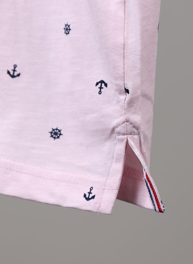 マリン総柄半袖ポロシャツ