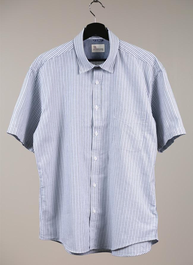 インド綿ストライプ半袖シャツ[2L/3L/4L]
