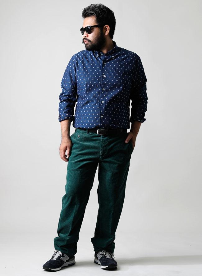 大きいサイズメンズQZILLA【日本製】イタリア生地インディゴ染めコットン長袖花柄シャツ