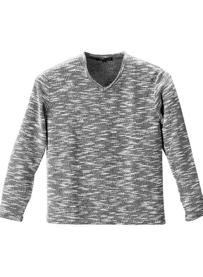ツイード長袖VネックTシャツ