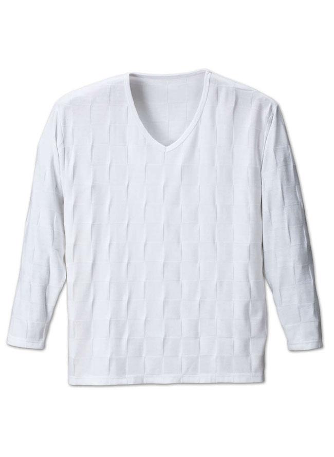 ブロックジャガード長袖VネックTシャツ