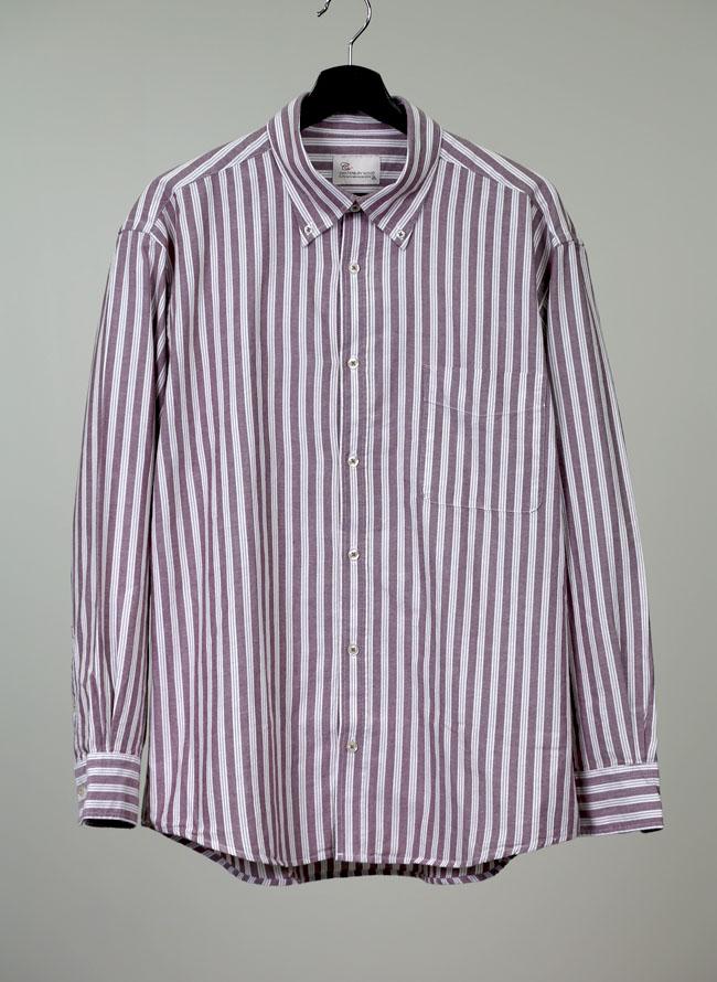 インド綿ストライプ柄長袖シャツ[2L/3L/4L]