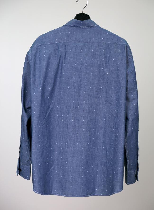 インド綿ピンドット柄長袖シャツ