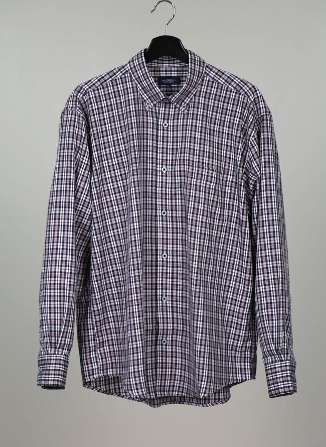 モダール混長袖チェックシャツ[2L/3L/4L]