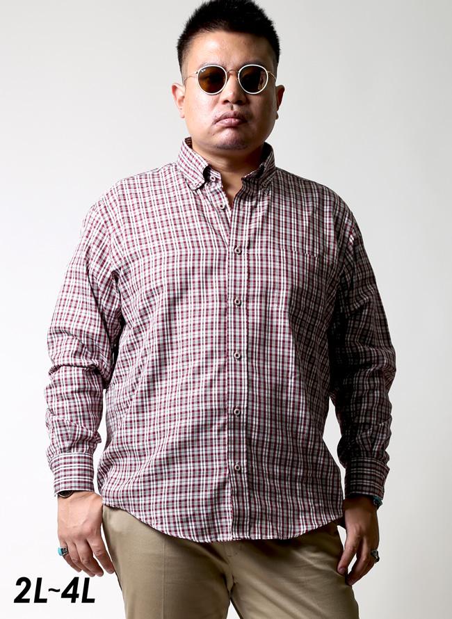 モダール混長袖レッドチェックシャツ[2L/3L/4L]