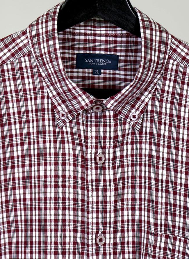 大きいサイズメンズQZILLAモダール混長袖レッドチェックシャツ