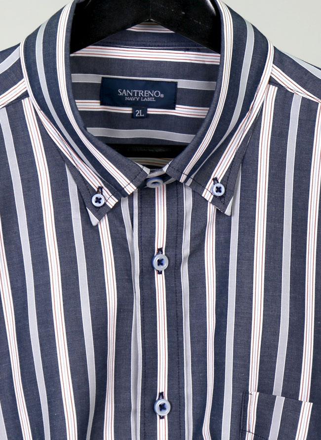 モダール混長袖ストライプシャツ