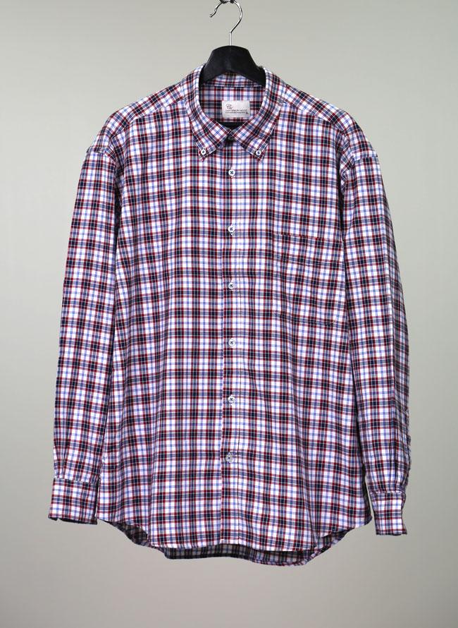 インド綿チェック柄長袖シャツ[2L/3L/4L]