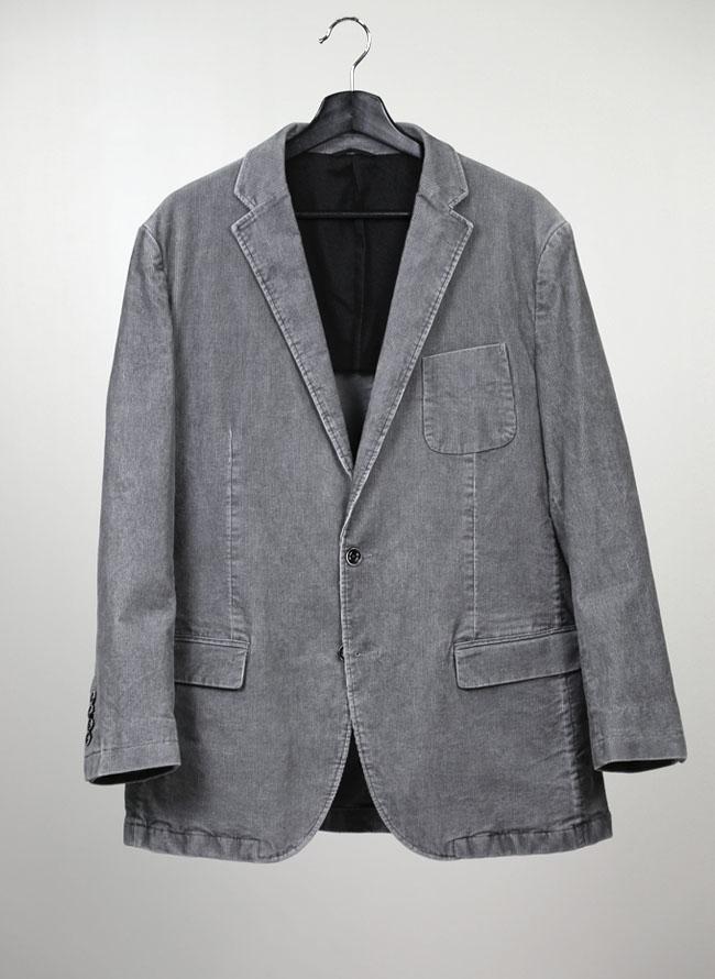 コーデュロイ素材ストレッチ2つボタンシングルジャケット