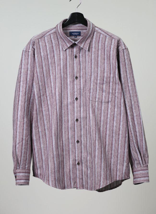 大きいサイズメンズQZILLAネルシャツ長袖イレギュラー縞模様柄シャツ