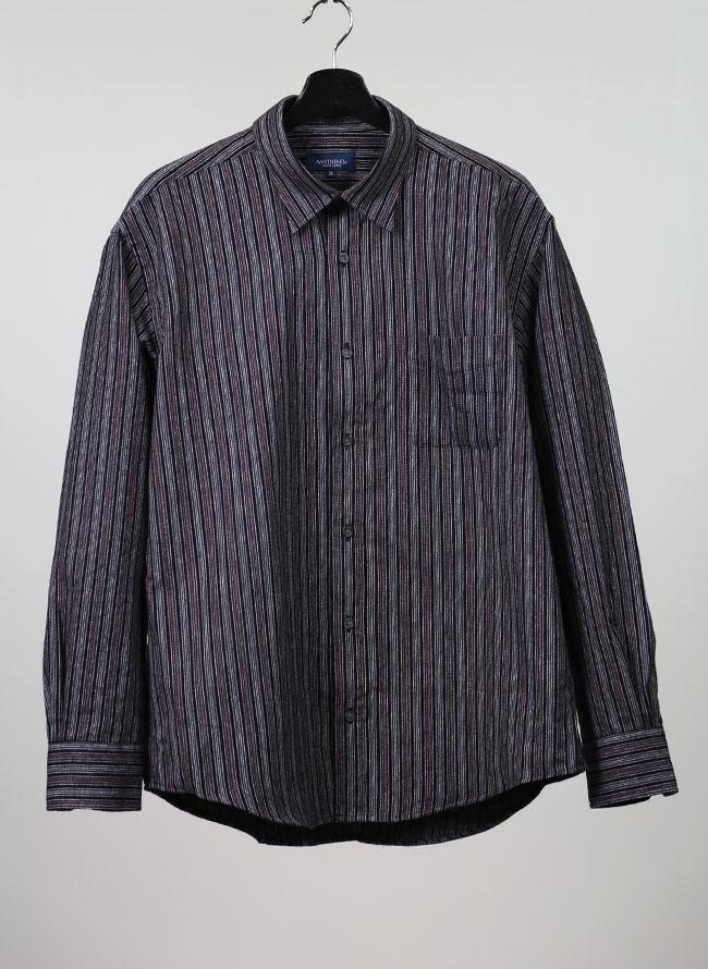 イレギュラー縞模様ネルシャツ[2L/3L/4L]