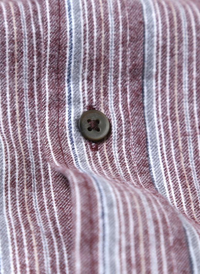 イレギュラー縞模様ネルシャツ