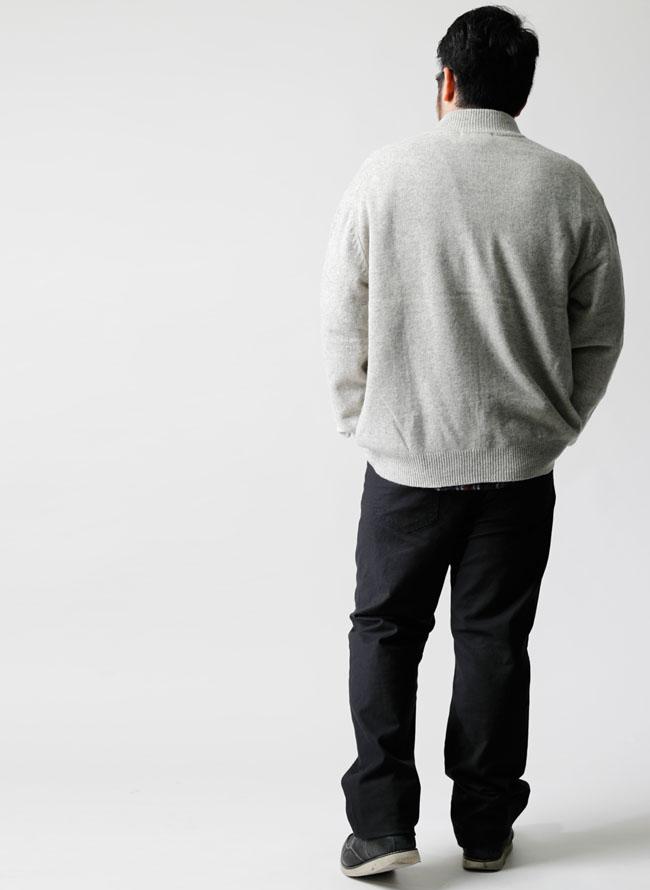 大きいサイズメンズQZILLA[フルジップ]ラム・メリノウールセーター