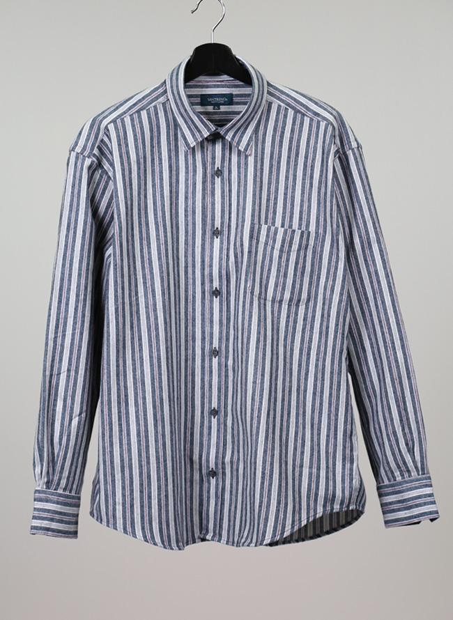 ストライプ長袖ネルシャツ[2L/3L/4L]