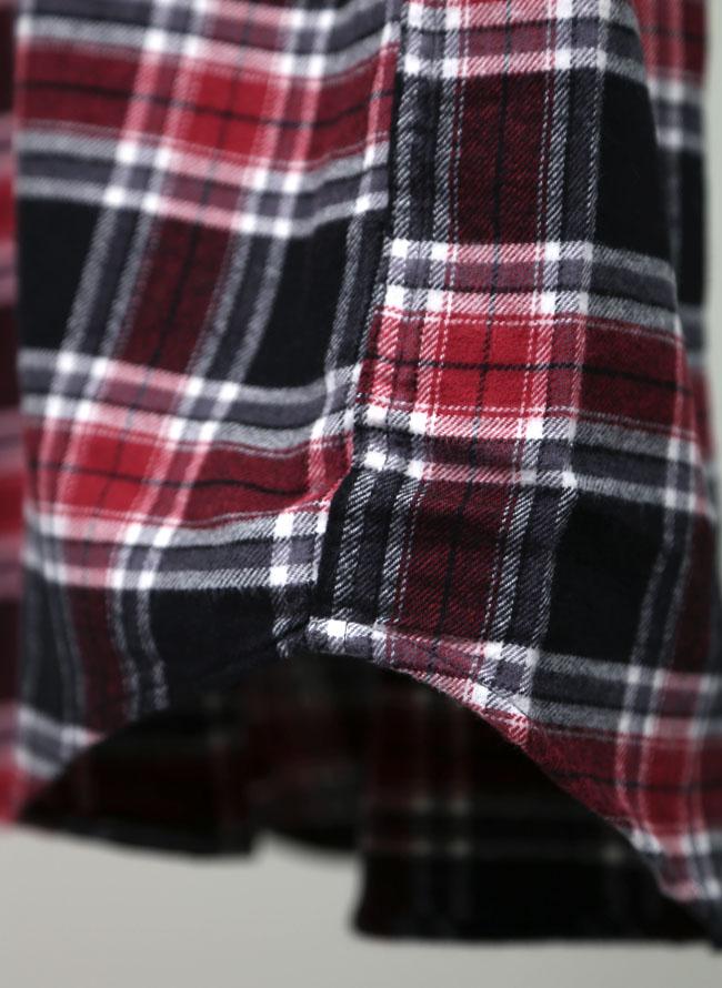 大きいサイズメンズQZILLAチェック柄コットン長袖ネルシャツ