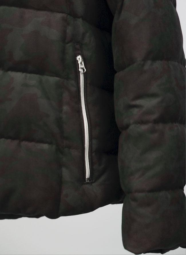 大きいサイズメンズQZILLAフード付き迷彩柄ダウンジャケット