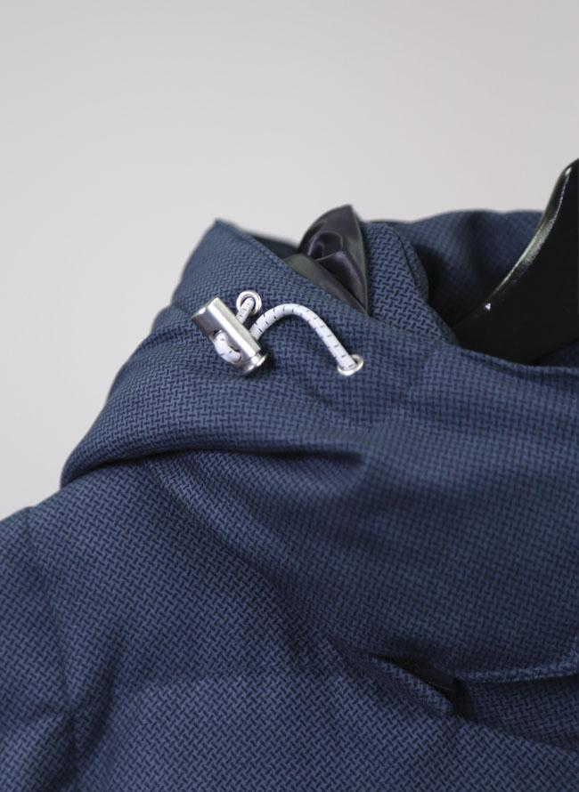 大きいサイズメンズQZILLAフード付き小紋柄ダウンジャケット