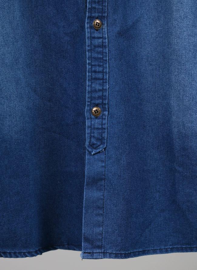 フェアアイル柄デニムプリント長袖シャツ