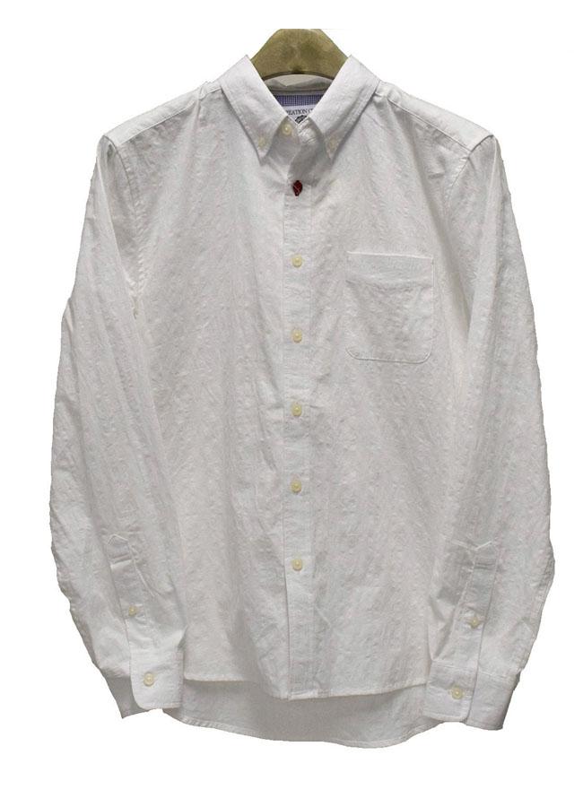 チェック織りワンポイントボタンボタンダウンシャツ