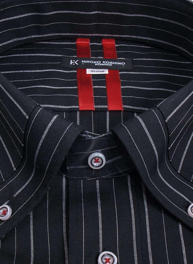 大きいサイズメンズQZILLAHIROKO KOSHINO HOMME (ヒロココシノオム) ストライプ黒長袖シャツ