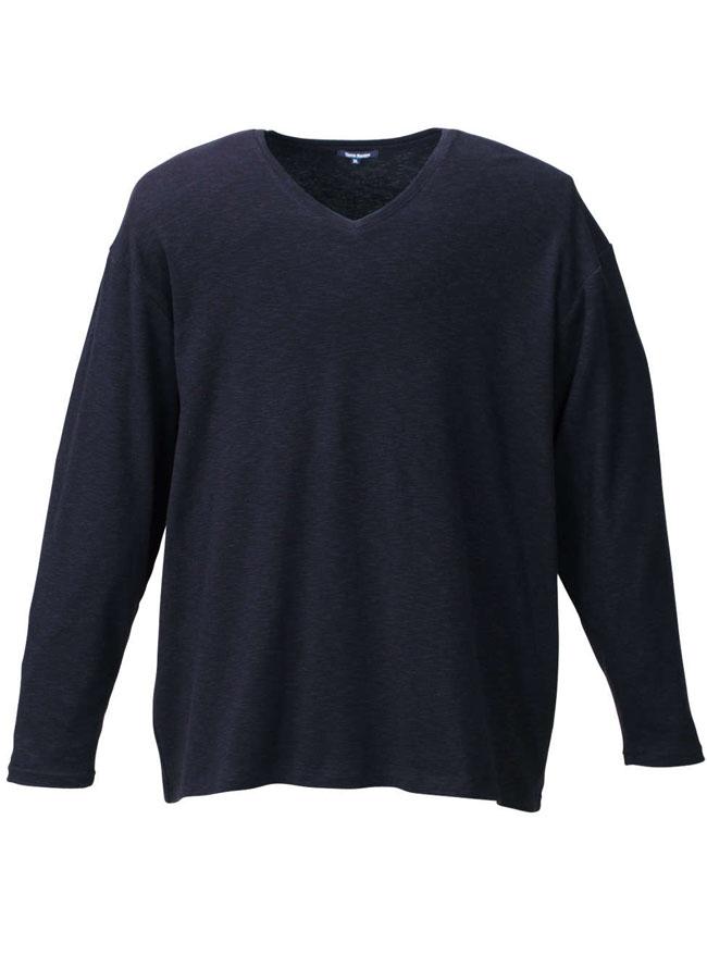 抗菌加工タック長袖VネックTシャツ