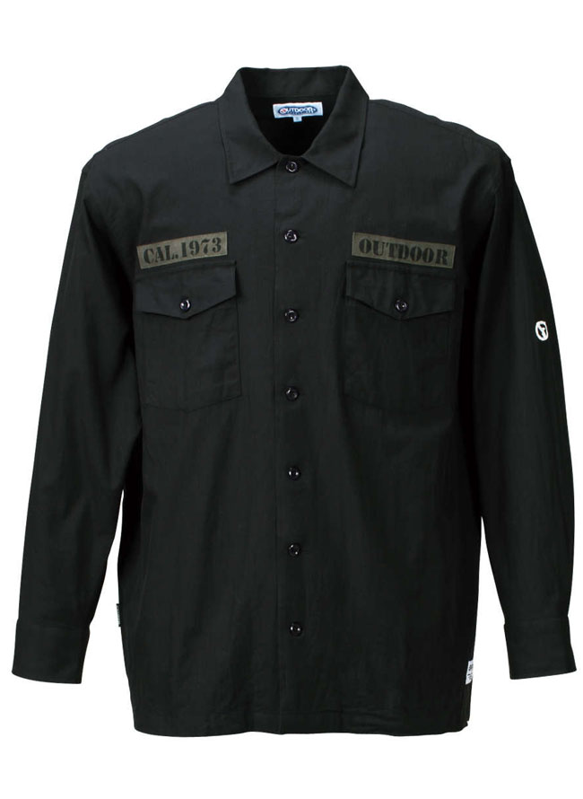 ワッペン付きミリタリー長袖シャツ