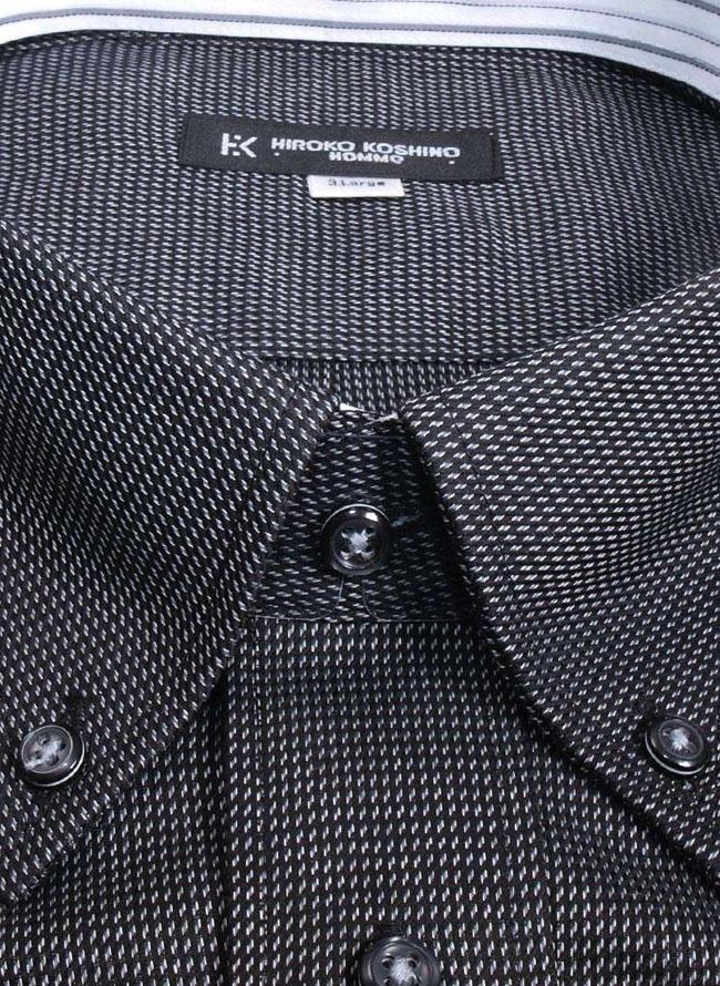 折り柄シャツ黒長袖シャツ