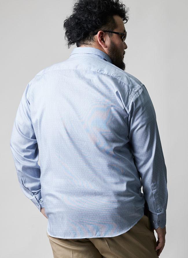 モダール混ピンドット長袖シャツ