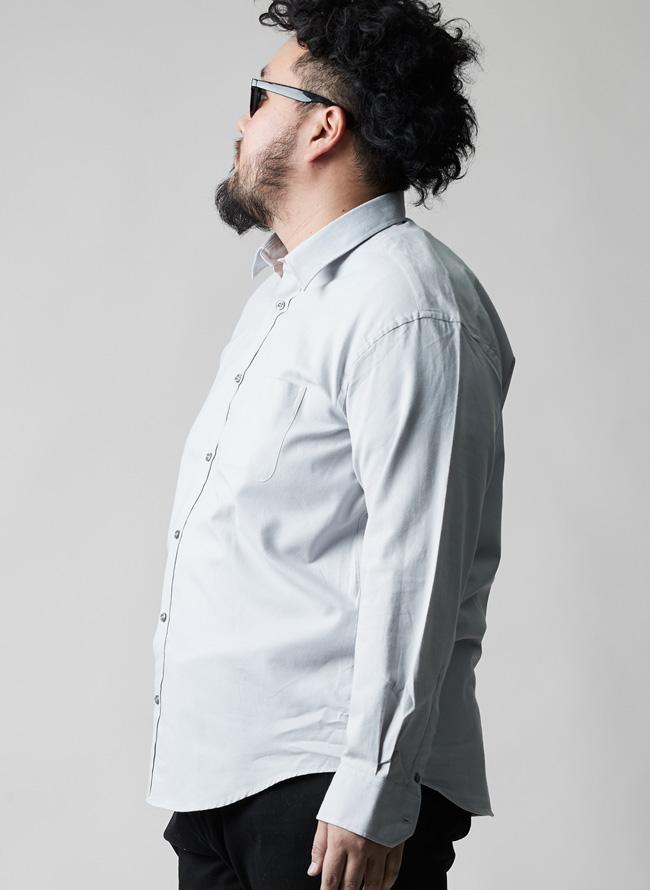 カーボンピーチ加工綿100%長袖シャツ
