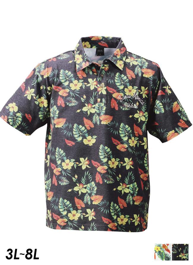 SHELTY(シェルティ)ボタニカルプリント半袖ポロシャツ[3L/4L/5L/6L]