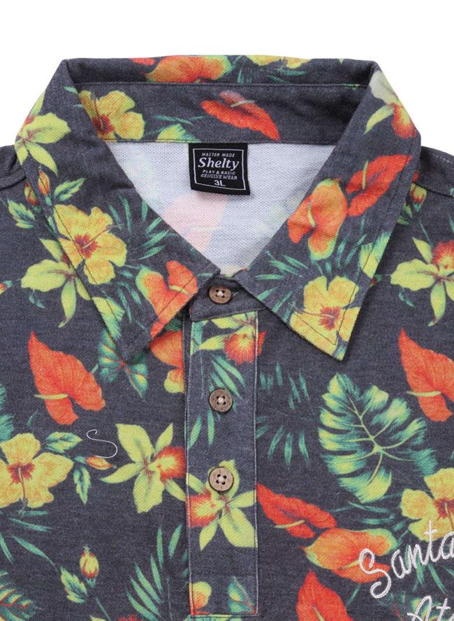 SHELTY(シェルティ)ボタニカルプリント半袖ポロシャツ