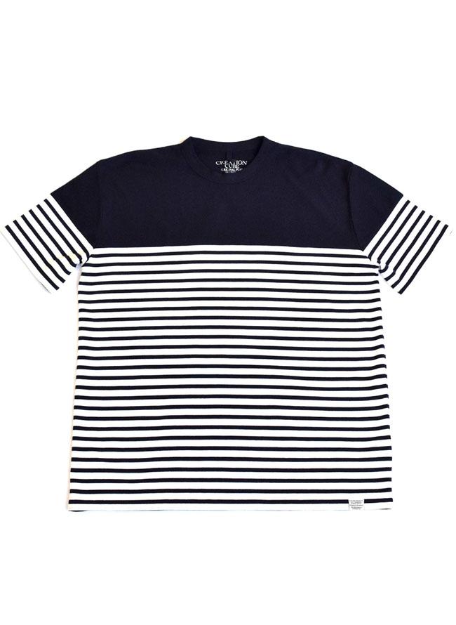 異素材切り替えボーダー切替Tシャツ[2L/3L/4L/5L]