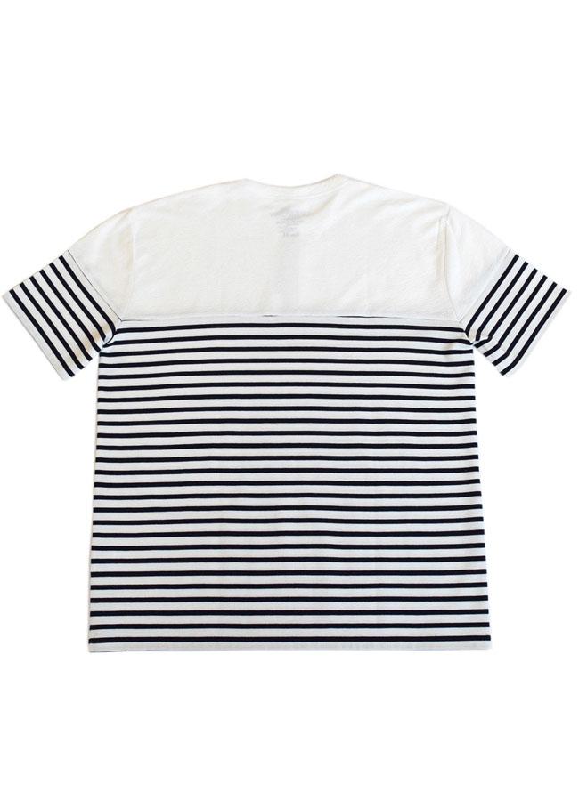 異素材切り替えボーダー切替Tシャツ