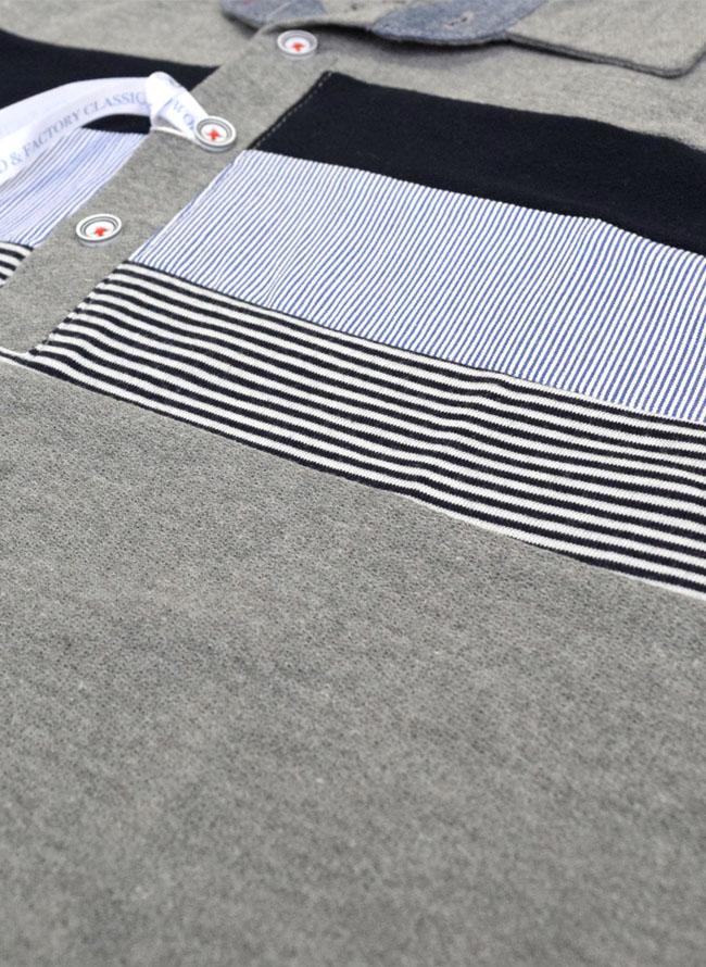 梨地そで折り返し3段切替ポロシャツ