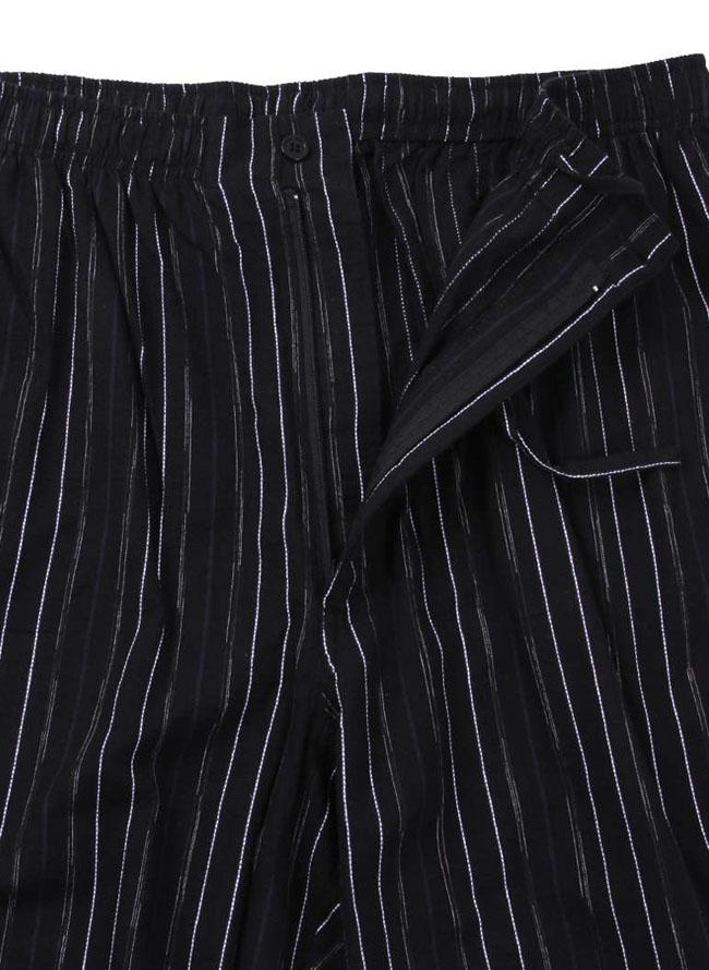 縦ストライプ柄作務衣ブラック