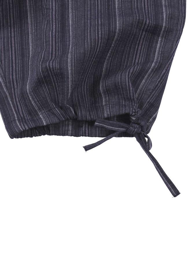 縦ストライプ柄作務衣ネイビー