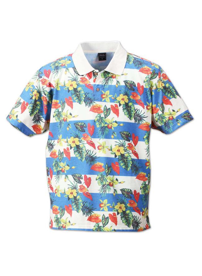 ボタニカルボーダー半袖ポロシャツ