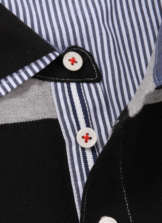鹿の子2枚衿ボーダー半袖ポロシャツ