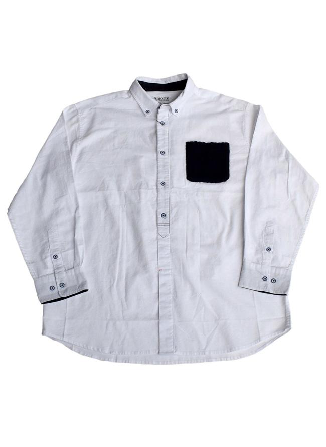 ニットポケット付き長袖ボタンダウンシャツカラー1