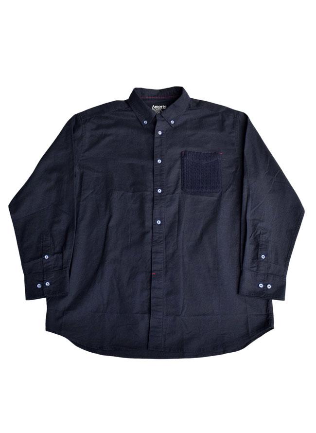 ニットポケット付き長袖ボタンダウンシャツカラー2