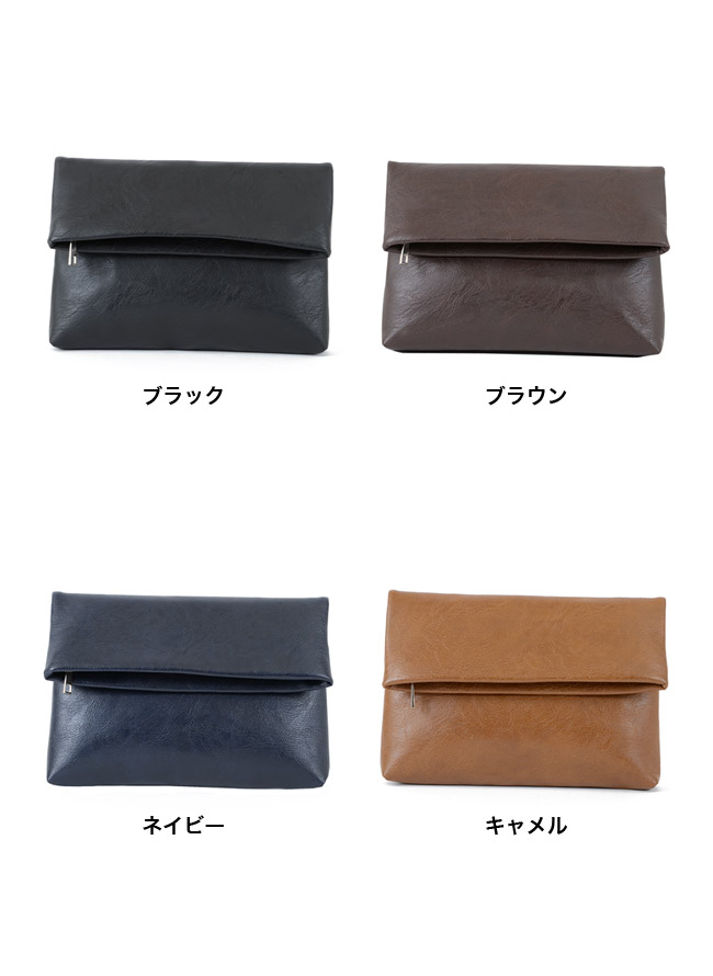 フェイクレザーミニサイズクラッチバッグ 本革風 二つ折りカラー5
