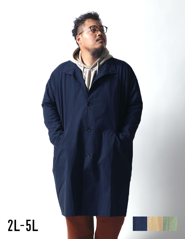 [予約販売10月中~下旬発送予定] 【大きいサイズ メンズ】Beluca(ベルーカ)バックプリーツ スタンドカラー ロゴ刺繍 バルーンコート 2L/3L/4L/5L/