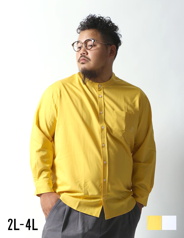 【大きいサイズ】Beluca(ベル―カ)ストレッチバンドカラーシャツ長袖シャツ カジュアルシャツ 2L/3L/4L/