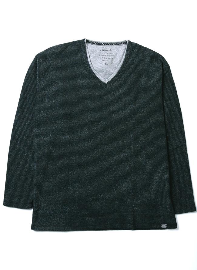 重ね着風あたたかブークレーフリースボーダーVネック長袖Tシャツカラー1