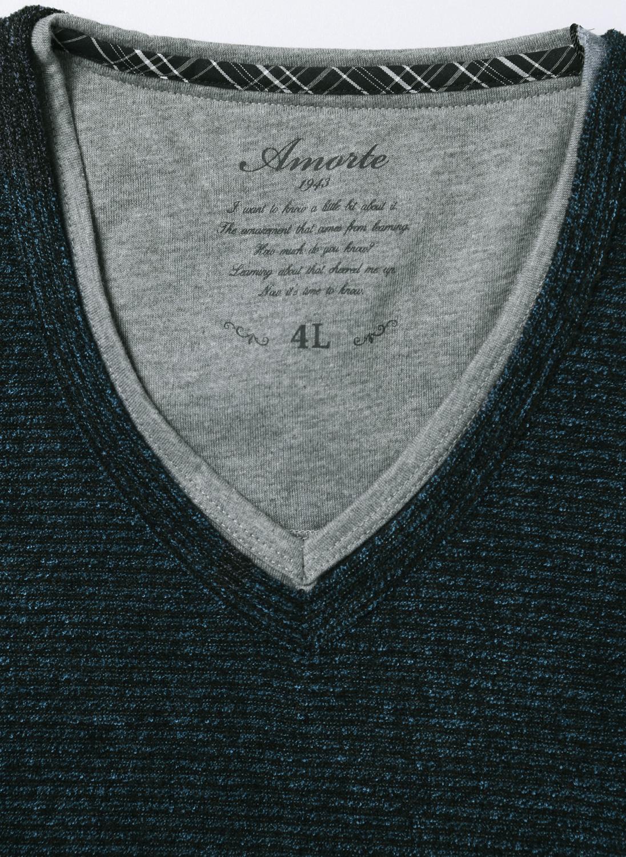 重ね着風あたたかブークレーフリースボーダーVネック長袖Tシャツ詳細01
