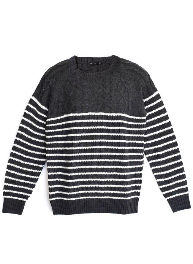 ケーブル×畦編みボーダー編み変えウォッシャブルセーター ニットカラー1