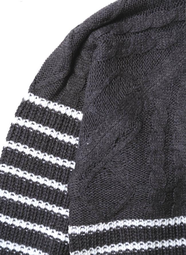 ケーブル×畦編みボーダー編み変えウォッシャブルセーター ニット詳細02