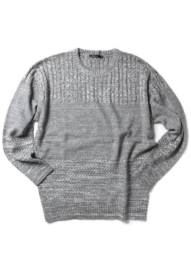 ケーブル×ラーベン編み変えウォッシャブルセーター ニットカラー1