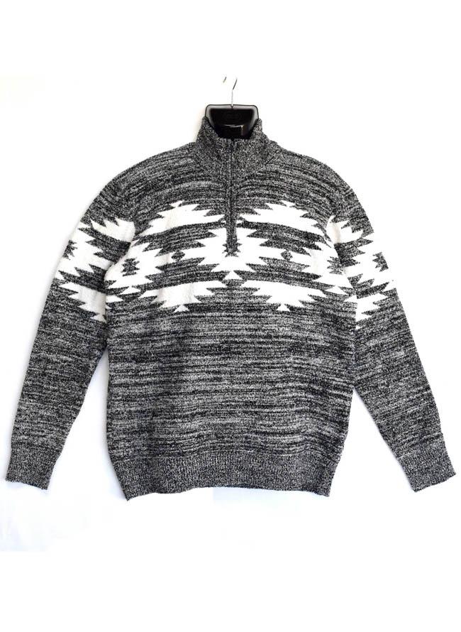 ブークレエスニックジャガード柄ZIPハイネックセーター  ニットカラー1